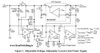 شماتیک منبع تغذیه خطی ولتاژ متغیر 0 تا 25V با قابلیت محدود کردن جریان 10mA تا 1.5A