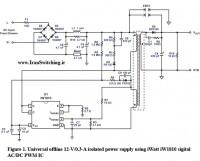 شماتیک مدار منبع تغذیه سوئیچینگ فلای بک  12V 300mA