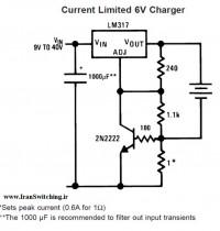 شماتیک مدار شارژر 6V  دارای محدود کننده جریان